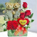 10cm Couple Bear with 3 Red Roses small table arrangement
