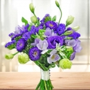 Purple Freesia, Eustoma, Aster & Statice Flower Hand Bouquet