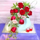 12 Red Roses Cascade wedding bouquets