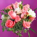 12 Peach Roses With White Freesia Hand Bouquet