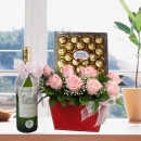 White Wine & 8 Peach Roses With Heart-Shape Chocolates