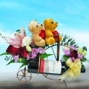 Red Wine & Mixed Flowers Arrangement With Bears On Metal Bicycle