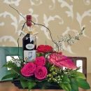 Red Wine & Mixed Flowers Arrangement
