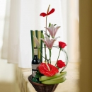 Red Wine & Anthurium Table Arrangement