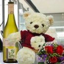 "3 Red Roses With 12"" Red Sweater Teddy Bear & European White Wine"