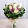 12 White Roses with Pink Sweet-william and special decoration...