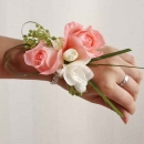 Peach Roses & Freesia Wedding Wristlets