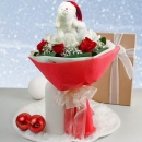 6 Red 6 White Roses  christmas Bear Handbouquet