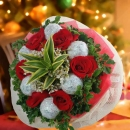 6 Red Roses & 6 Glitter Christmas Ball Hand Bouquet