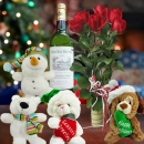 4 X'mas Plush Toys, Roses & White Wine