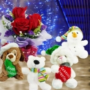 4 X'Mas Stuffed Toys With Roses Standing Bouquet