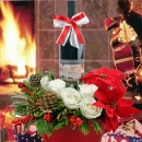 Red wine & White Roses Basket Arrangement