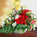 Artificial Poinsettia Christmas Flowers & White Roses Arrangement in Vase