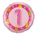 "Add-on Age 1 pink teddies 18"" helium balloon"