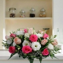 20(10 hot pink & 10 champagne) roses table arrangement.